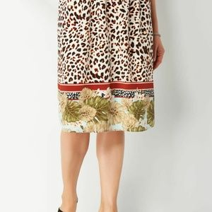 Christopher & Banks Animal Print Pleated Skirt
